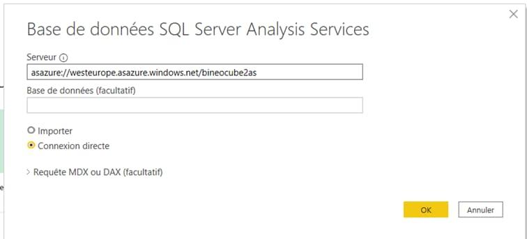 Page Power BI Connexion Base de données SQL