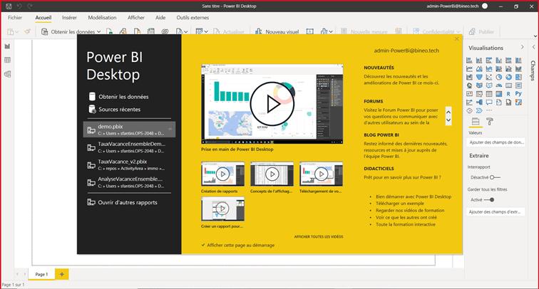 Page d'accueil du logiciel Power BI